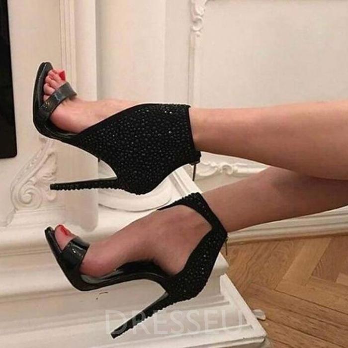 1268be5e1e9 Heel Covering Open Toe Stiletto Heel Zipper Plain Banquet Sandals in ...