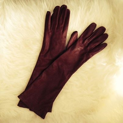 Smooth-claret-long-leather gloves