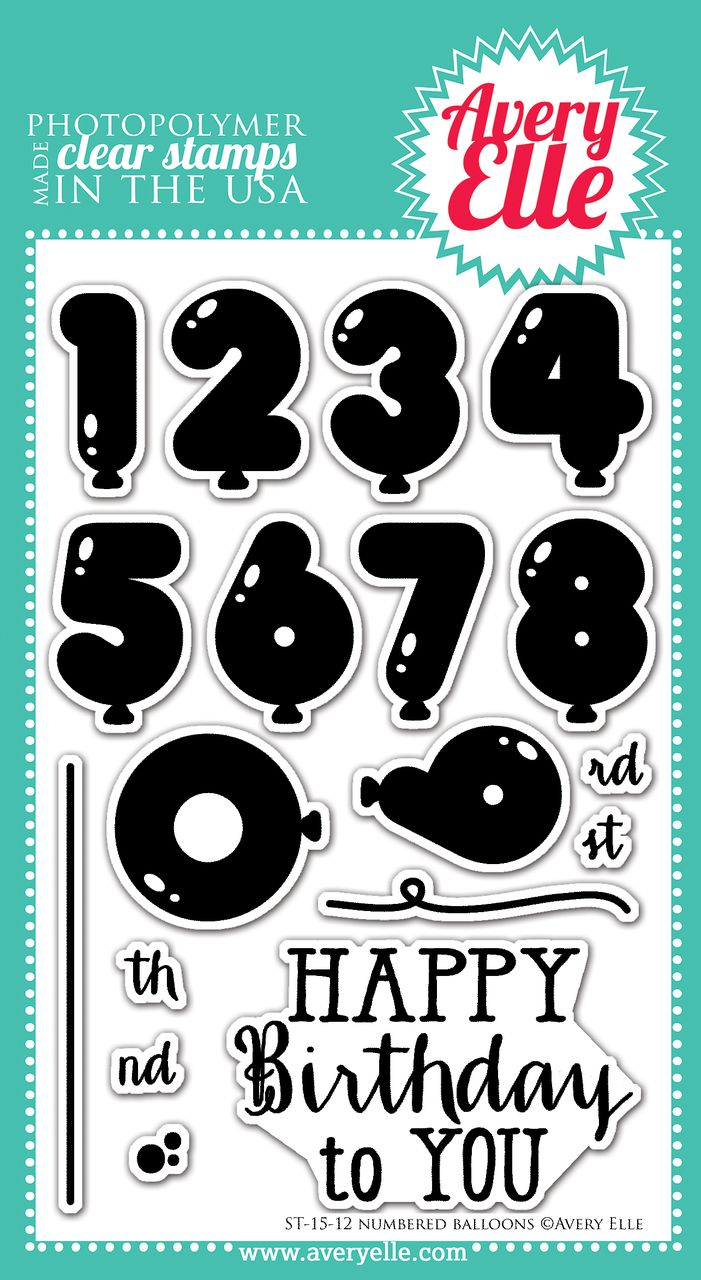 Avery Elle  - Numbered Balloons Clear Stamps, $15.00 (http://www.averyelle.com/numbered-balloons-clear-stamps/)