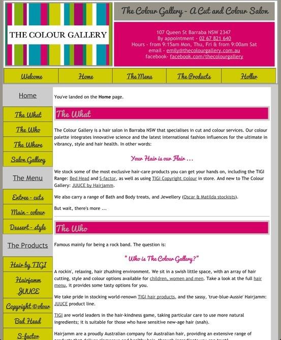 The Colour Gallery - A Cut and Colour Salon: Home Page. Design by Web Etch Design & Editing (Felicity Matthews).  Retro Site Design.  http://www.thecolourgallery.com.au