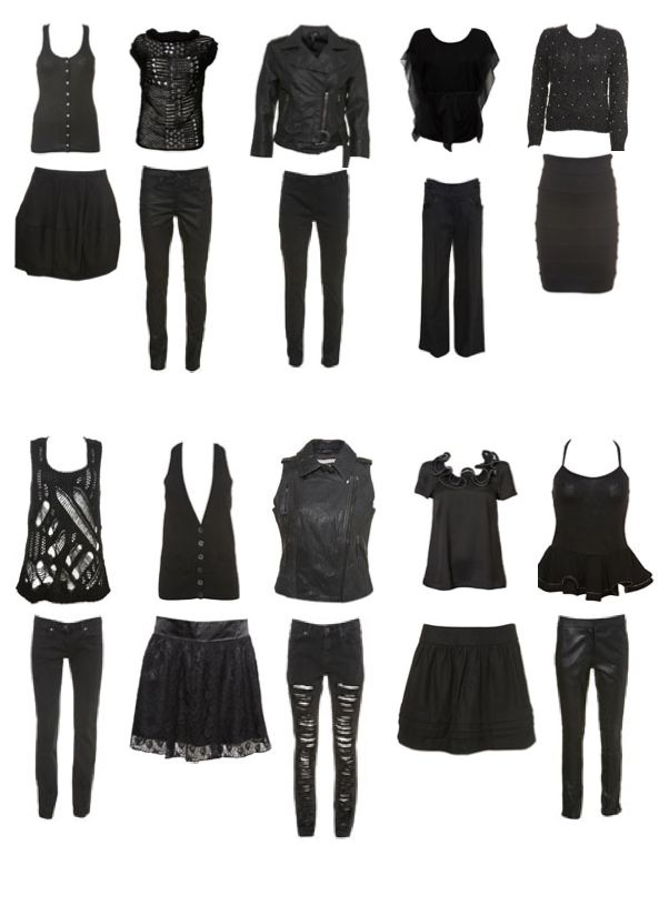 Black  http://myyearwithoutclothesshopping.com/wp/wp-content/uploads/2010/08/all-black-clothing-items.png