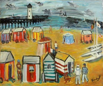 """Lote: 34001720. NADAL FARRERAS, Carles (París, 1917 – Sitges, Barcelona, 1998). """"Verano en la playa"""". Óleo sobre lienzo. Firmado en el ángulo inferior derecho. Adjunta certificado de autenticidad. Medidas: 54 x 65 cm; 72 x 83 cm (marco)."""