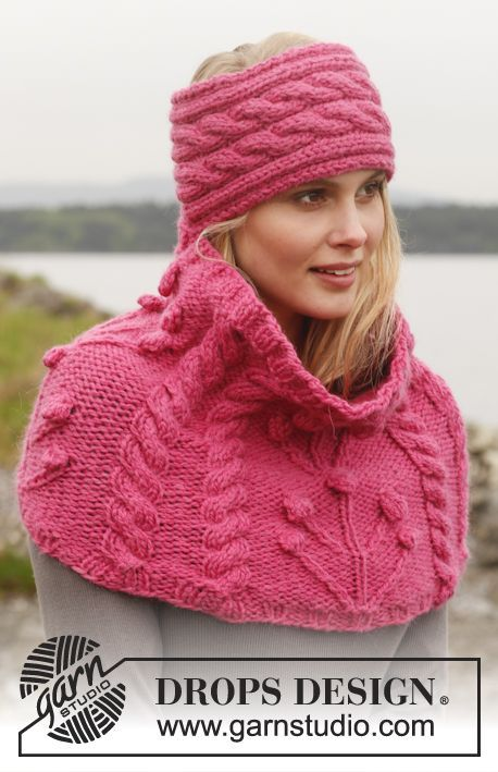 "Knitted DROPS head band and neck warmer with cables and textured pattern in ""Andes"". ~ DROPS Design"