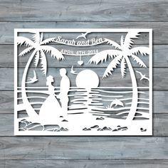 Beach Wedding Paper Cut Template Paper cut Templates by Zavyanne8