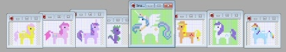 My newest WIP. Gonna be a tea towel. Got the six main sprites from the commercial of PP playing a MLP video game. Made the PC and Spike ones myself. 8-Bit Style My Little Pony X Stitch.