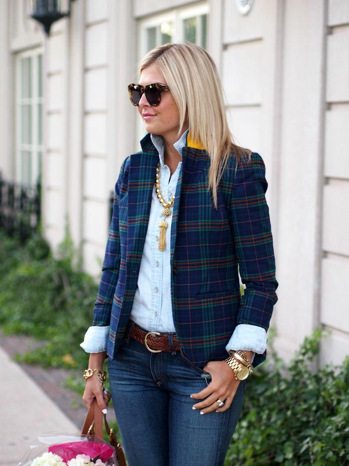 blue plaid blazer, jeans & white shirt