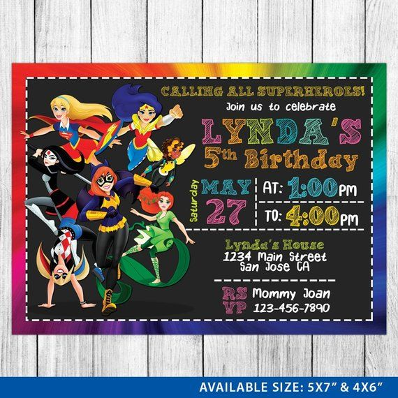 Dc Superhero Girls Invitation Birthday P