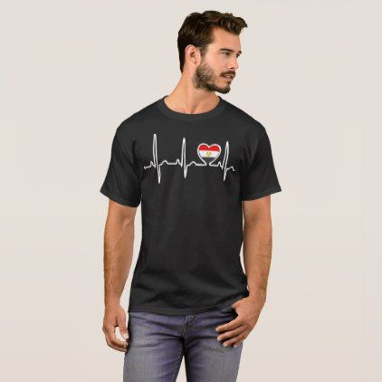 #country - #Egypt Country Flag Heartbeat Pride Tshirt