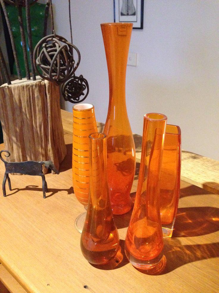 And more orange glass vases!