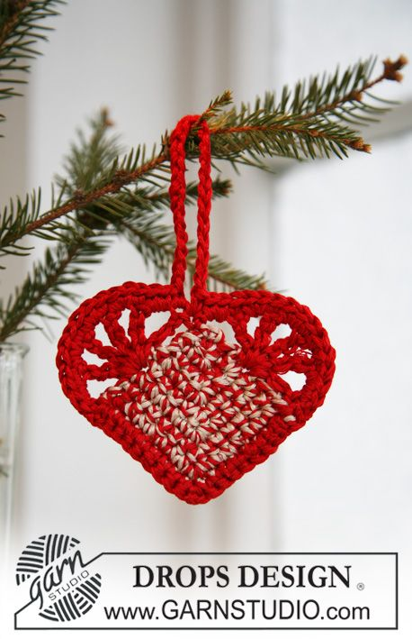 "Crochet DROPS Christmas heart in ""Cotton Viscose"". ~ DROPS Design"