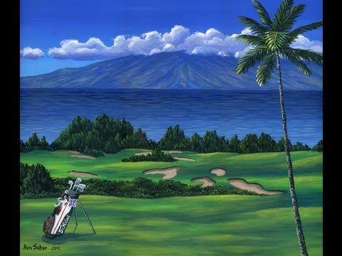 Cómo pintar campo de golf césped arbustos palmeras mar montaña acrylicos tela - YouTube