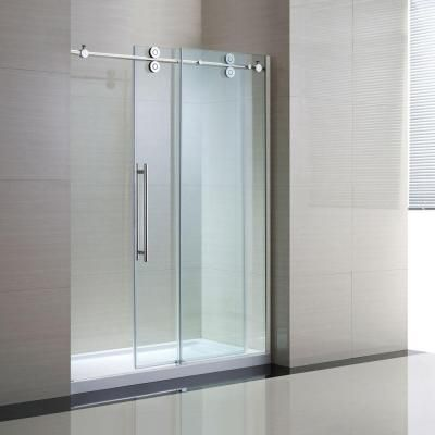 semiframed shower enclosure with sliding glass shower door in chrome and clear glass