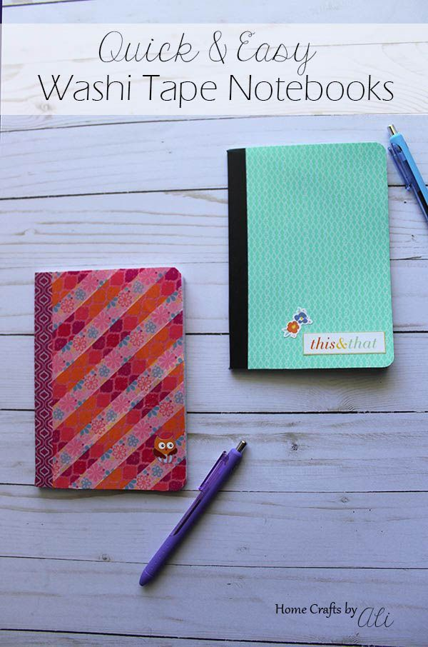 Quick and Easy Washi Tape Notebook - Give your notebook a cute update with your favorite washi tape! Follow this easy tutorial and have a nicely decorated notebook in less than 10 minutes!
