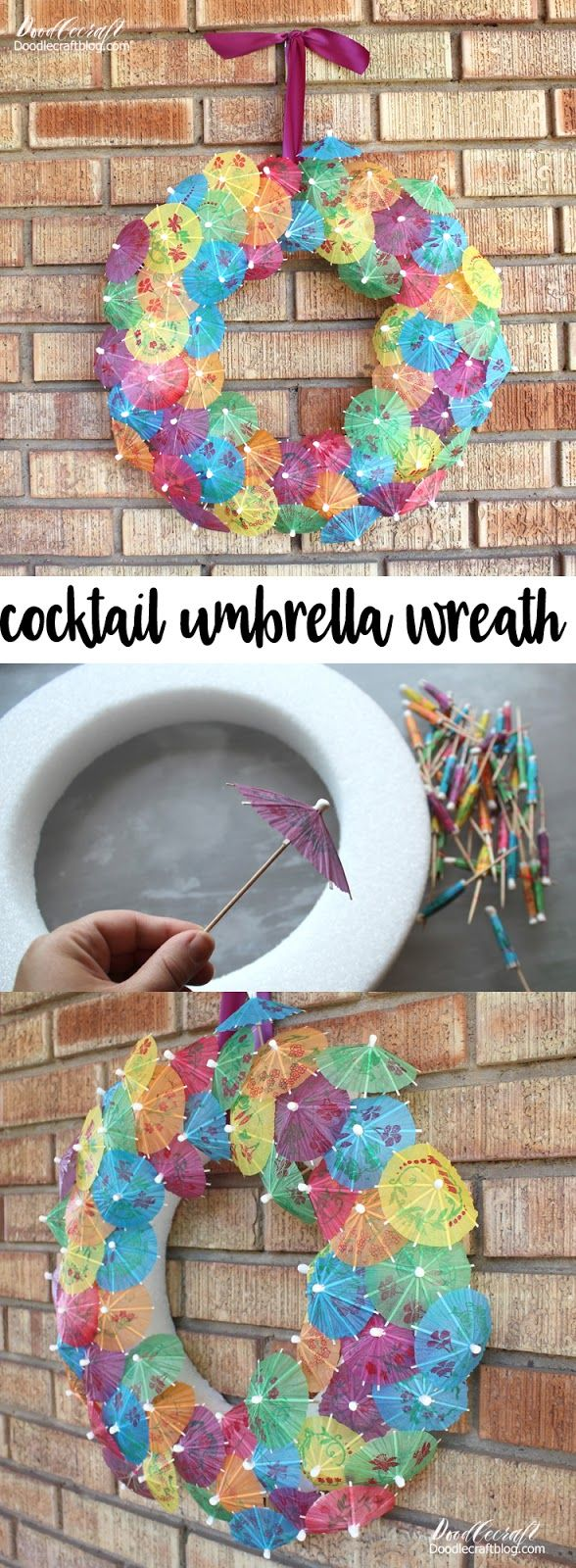 Cocktail Umbrella Summer Wreath DIY! I love Summertime!  I want to stretch it out as long as possible.  In fact, we are camping this week...the perks of homeschooling!