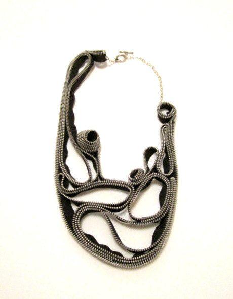 Navy zipper necklace