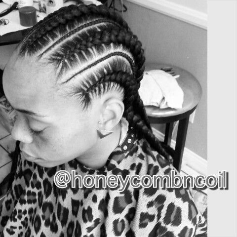 how to do weave : Large Straight Back Cornrows with tiny Braids for parts using Feed ...