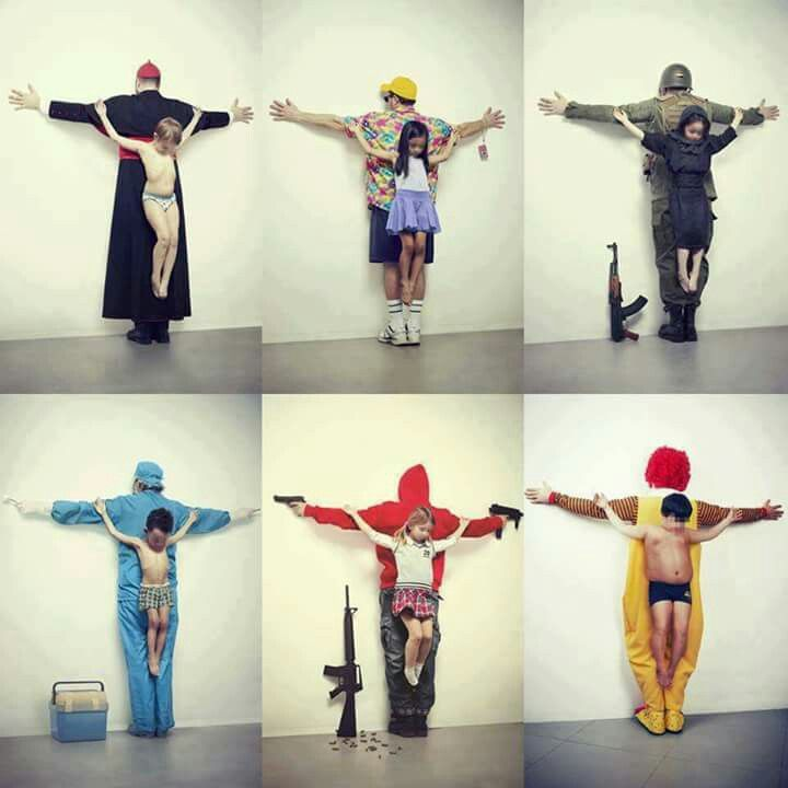 """The first image refers to pedophilia in the Vatican. Second child sexual abuse in tourism in Thailand, and the third refers to the war in Syria. The fourth image refers to the trafficking of organs on the black market, where most of the victims are children from poor countries; fifth refers to weapons free in the U.S.. And finally, the sixth image refers to obesity, blaming the big fast food companies. The new series produced by Cuban artist Erik Ravelo was titled as ""The untouchables"", are…"