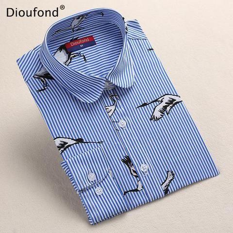 d248a1cfc9b Dioufond Black Flower Print Blouse Women Turn Down Collar Button Down  Blouse Shirt Casual Cotton Shirts Plus Size S-5XL 2017