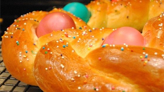 A rich, white yeast bread is braided and decorated with in-the-shell raw eggs before baking. The eggs cook right along with the bread, and if the eggs are dyed beforehand, they add a particularly festive touch to the finished bread.