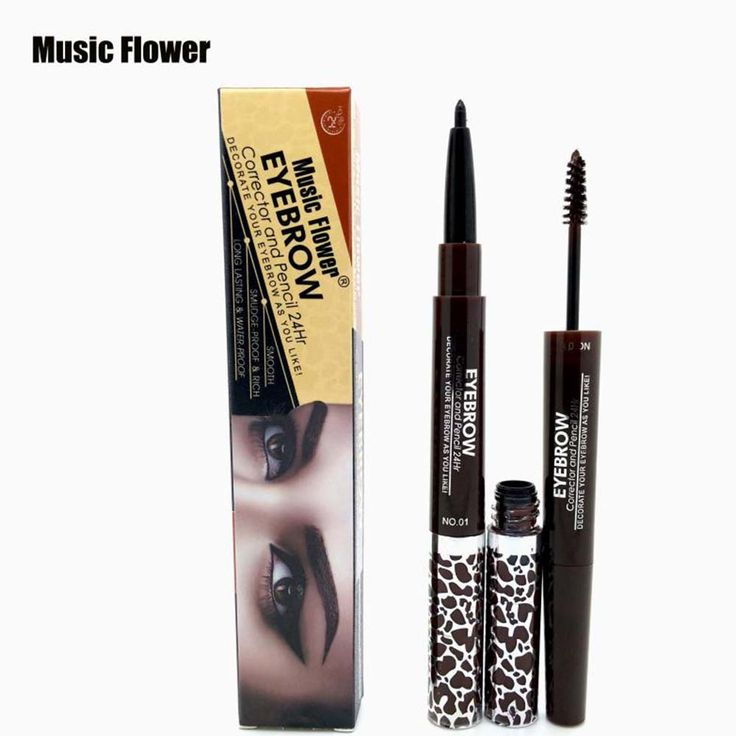 Music Flower 1PC Double-end Waterproof Black Eyebrow Pencil + 3 Colors Eyebrow Cream Mascara Gel Makeup Eyebrows Set