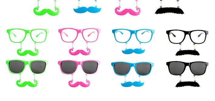 Pair of Movember Glasses - Clear or Tinted in 4 Colours for just $10!