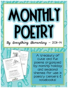 "Recently ""made over"" to better suit your classroom! Over 70,000 downloads! A 32-page compilation of 40 monthly thematic and holiday poems for your entire school year!  Poems include math, seasonal, rhyming, holiday-related, ""brain break""/energizers, and more!"