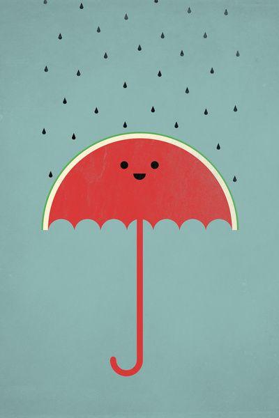 Watermelon umbrella print.