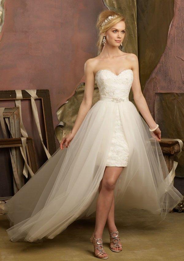 Asymmetrical A-line Strapless Ivory Tulle Wedding Dress