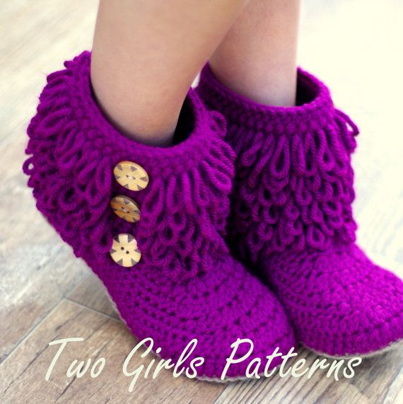 Womens Crochet Boot house slipper PDF crochet by TwoGirlsPatterns, $5.50