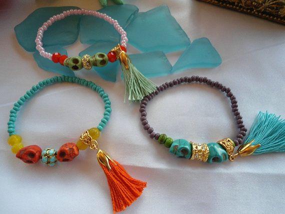 SALE SKULL And TASSEL  Bohemian Gypsy Inspired Bracelet by Nezihe1, $10.00