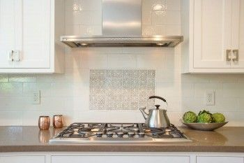 Pratt and Larson Tile Scraffito Pattern B Kitchen Backsplash