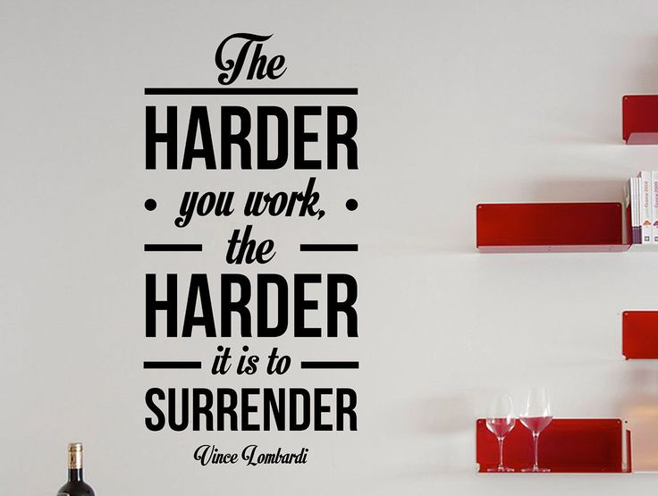 """Vince Lombardi Quote Motivational Typography Wall Decal Office Home Décor """"The Harder You Work"""" 35x17 Inches"""