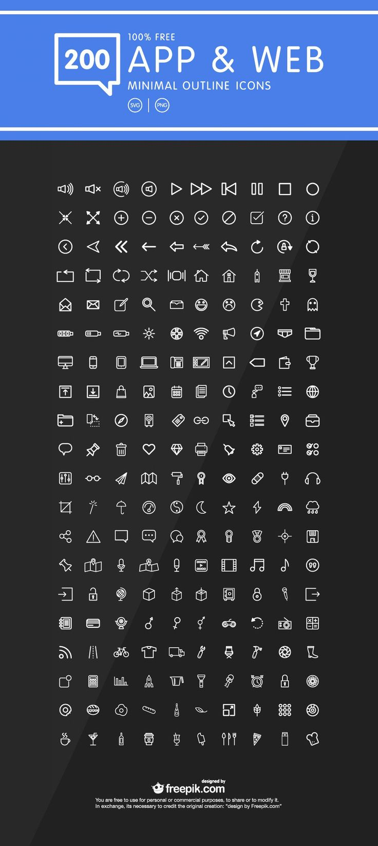 A set of 200+ outline icons for web and mobile application design for free of cost . Icons included in this set is most common icons used for app designs.