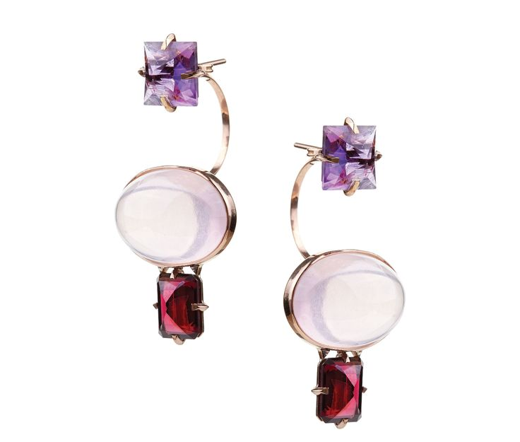 18K pink gold pair of earrings with cabochon-cut pink Quartz  and square-cut Amethyst & Garnet  www.lito-jewelry.com