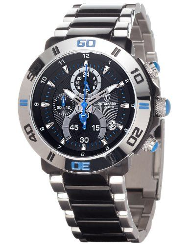 Detomaso Herren-Armbanduhr XL  TIAGO Blue DT2009-D Trend Chronograph Quarz Edelstahl DT2009-D