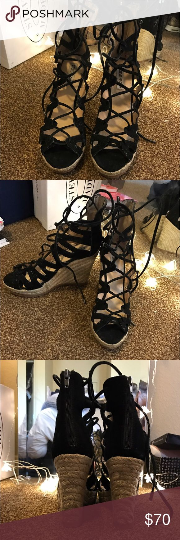 Steve Madden 'Thera' Wedges. These Steve Madden Wedges have a 4.5in heel, zipper in the back and lace up the front. Very on-trend and look great with formal dresses or a casual outfit! Worn once. Steve Madden Shoes Wedges