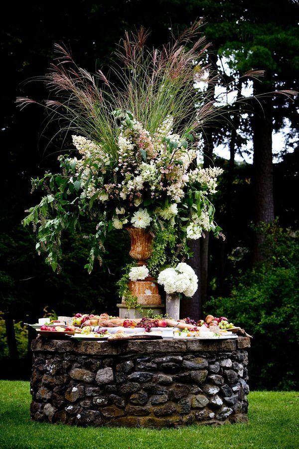 spectacular outdoor buffet table arrangement ideas floral centerpiece