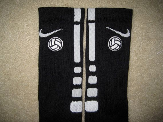 SPORTS VOLLEYBALL Custom Nike Elite Socks Black w/ White Stripe L (8-12)