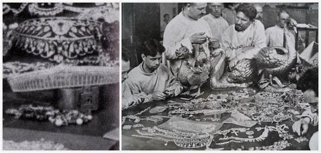 The Bolsheviks looking over a table of confiscated Yusupov jewels. The rock crystal wedding tiara of Irina Yusupova, wife of Rasputin murderer, in close up, is near the middle ~