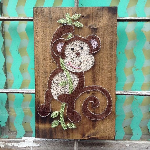 LIMITED TIME SALE Swinging Monkey String Art, Monkey Nursery Decor, Monkey Wall Art, String Art Sign, Custom Nursery Decor, Monkey Theme Bab