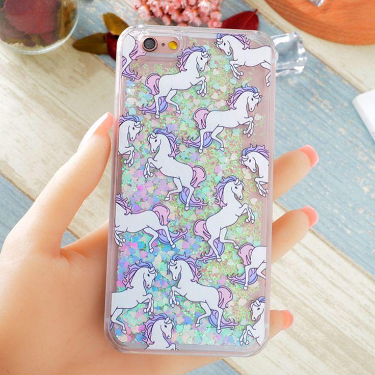 Hot Fantastic Unicorn Animal Horse Cat Dynamic Liquid Glitter Capa Phone Cases Cover For iPhone 7 7Plus 4S 5S SE 5C 6G 6S 6Plus