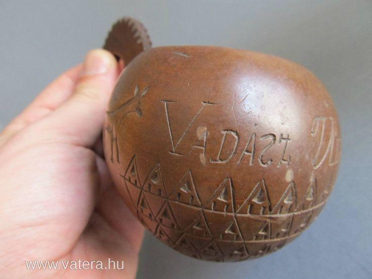 Különleges faragott népi vadász ivó csanak 1914 - Vatera.hu