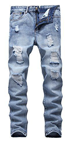 Men's Ripped Slim Fit Straight Denim Jeans Jogger Pants Vintage Style with Broken Holes