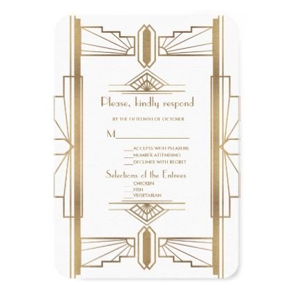 Glamorous 1920's Great Gatsby 1920s Wedding RSVP Card - wedding invitations diy cyo special idea personalize card