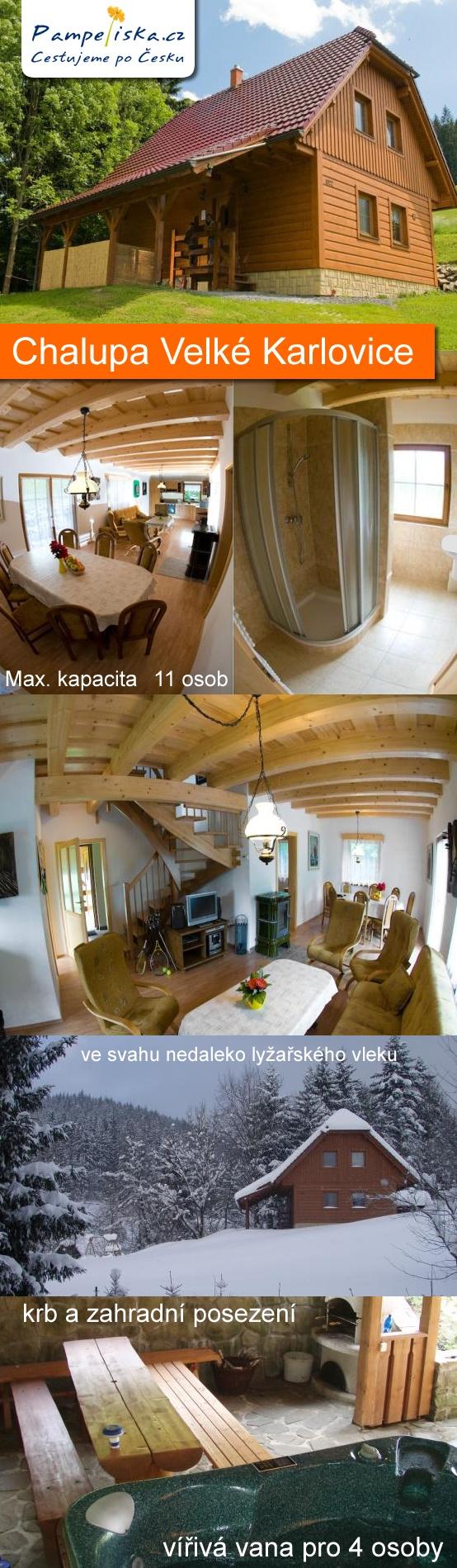 Rekonstruovaná dřevěná chalupa je postavena ve svahu nedaleko lyžařského vleku v krásném prostředí krajinné oblasti Beskydy.