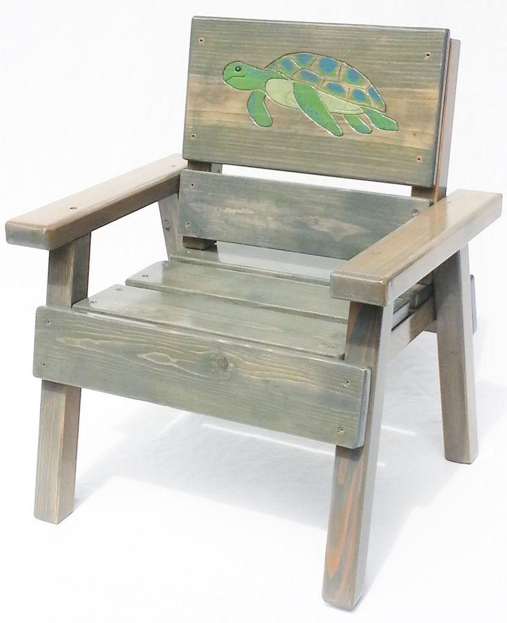 Nautical Kids Chair, Engraved SeaTurtle, Childrens Outdoor Coastal Furniture,  Rustic Look, Ocean