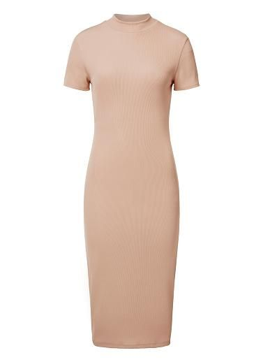 Viscose/Elastane Roll Neck Tube Dress. Slim fitting silhouette features a high funnel neck, short sleeves and midi hem in an all over fine rib fabrication. Available in Black and Light Tan as shown.