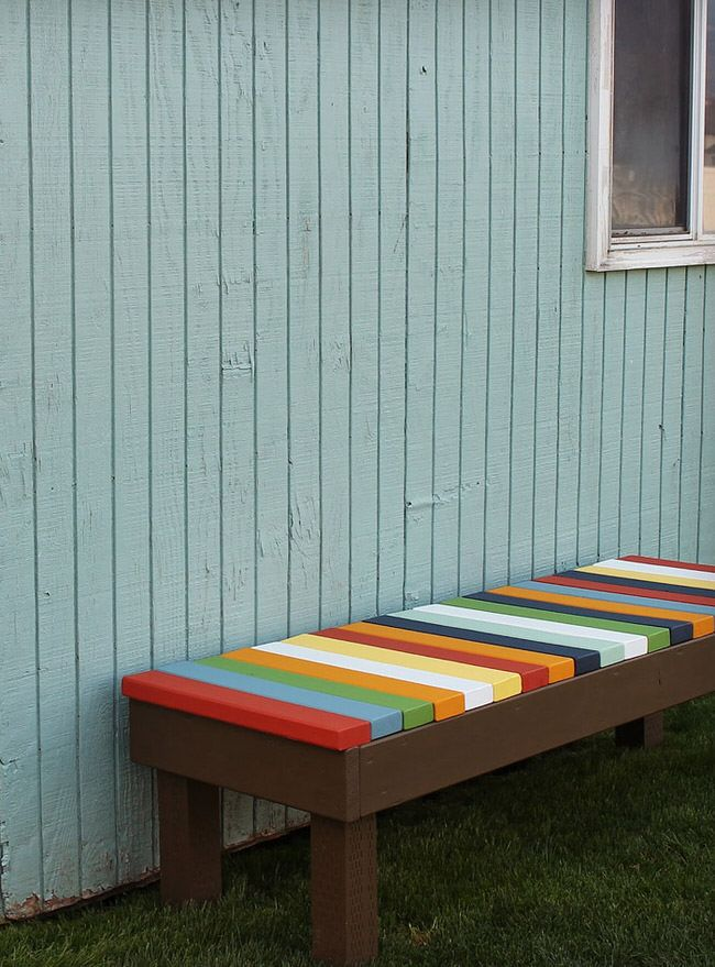 Love the colorful cover bench. Maybe add a lifting top for the seat so I can store my gardening supplies right there!