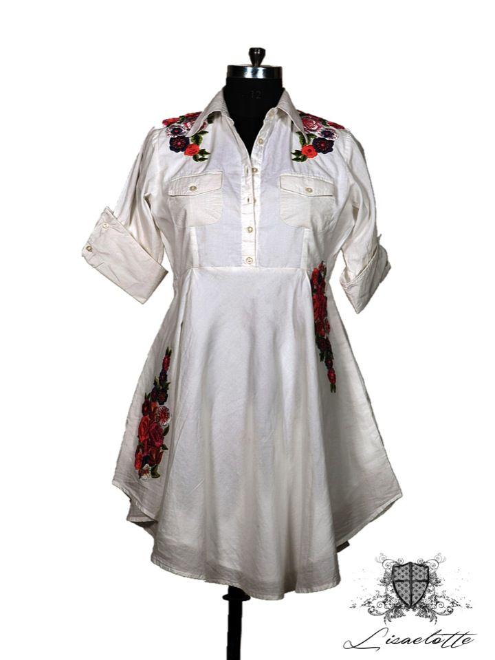 Embroidered Shirt Dress #Cotton #Shirts #WomensClothing #Lisaelotte