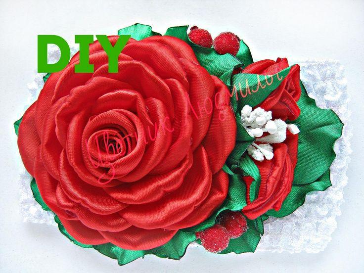 Розы из лент Мастер класс канзаши Roses ribbons Masterclass kanzashi DIY